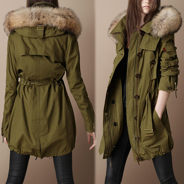 3bf127a629180 Women Fur Trim Hooded Parka down coat raccoon fur thickening cotton-padded  wadded jacket olive green overcoat outerwear
