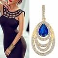 Azul Gota de Água Brincos Grandes Jóias de Casamento de Luxo Banhado A Ouro de cristal Pingente de Borla Brincos Mulher Moda Jóias