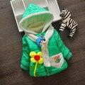 Venda quente 2015 Meninas Do Bebê Casacos de Inverno Crianças Casacos de Moda Com Capuz Crianças Flores de Algodão-acolchoado Casacos Ao Ar Livre Parka Quente