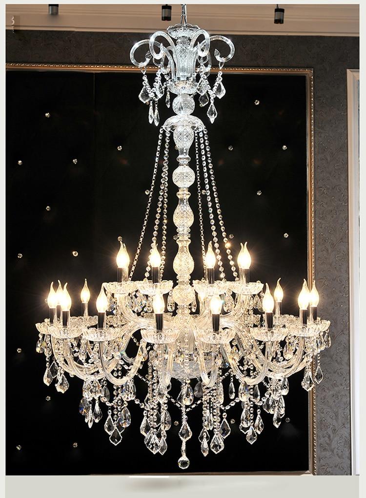 Livraison gratuite EXtra long grand lustre en cristal lustre lustres de cristal bougie exportation K9 Hall hôtel Lumière Hauteur 150 cm