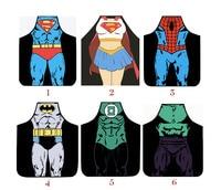 1 pc homem mulheres fun kitchen Aventais de super heróis superman batman mulher maravilha garoto de cozinha engraçado sexy avental de flash partido homens jogos apron men cook kids man apron -