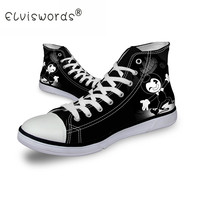 ELVISWORDS Black Men S Casual Canvas Shoes Bendy And The Ink Machine Pattern High Tope Canvas