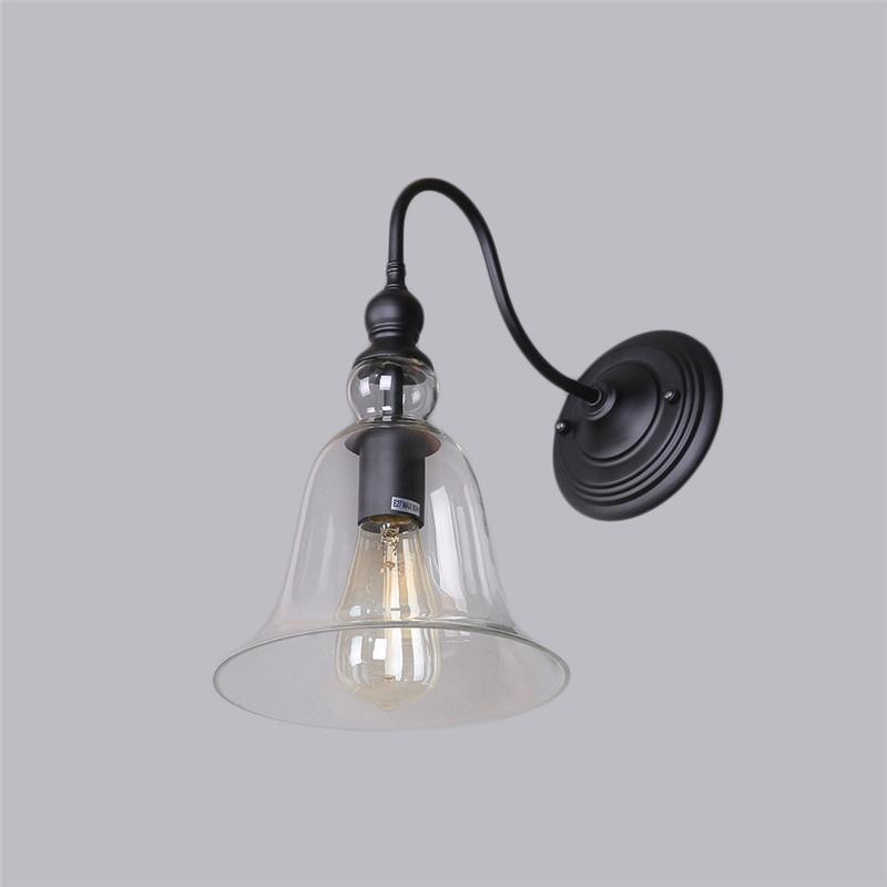 Wood crafts industrial edison antique glass bell light wall sconces lamp