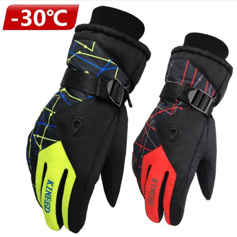 Horizontal Grain Warm Ski Gloves, Men's And Women's Winter Outdoor Prevent Slippery Wear-Resisting Cycling Gloves
