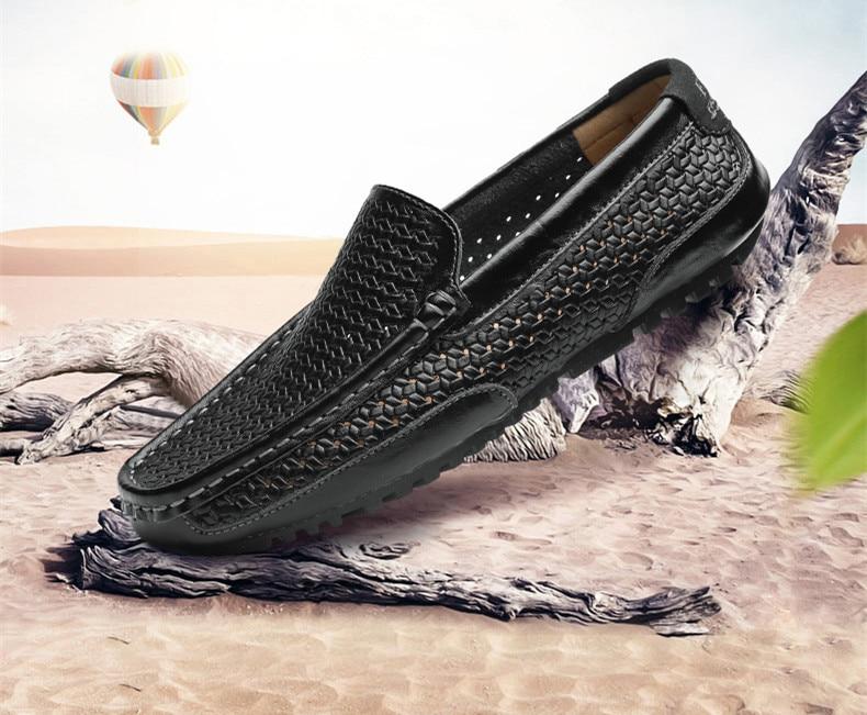 HTB1RosLM4TpK1RjSZFMq6zG VXao Summer Men Shoes Casual Luxury Brand Genuine Leather Mens Loafers Moccasins Italian Breathable Slip on Boat Shoes Black JKPUDUN