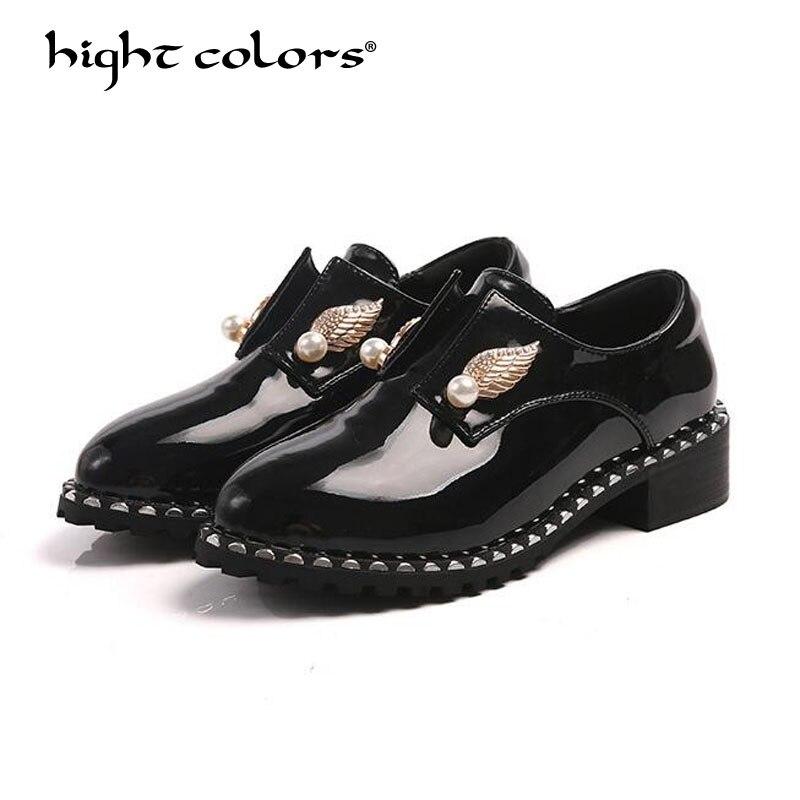 Plates À Plus Richelieus Mujer Noir Femmes Verni Femelle Chaussures ZWqvwpx6gg