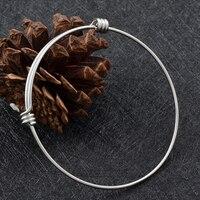 IJB0214 Cheap Wholesale 316L Stainless Steel Beading Expandable Adjustable Wire Bangle Bracelet Charm Bracelets
