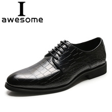 цена на Crocodile pattern Leather Pointed Toe Lace-up Brogue Mens Flats Shoes Casual British Style Men Oxfords Dress Shoes For Men