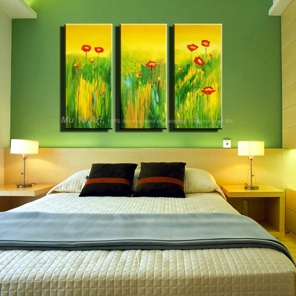3 panel wall art canvas abstract Modern cheap tulip decorative wall ...