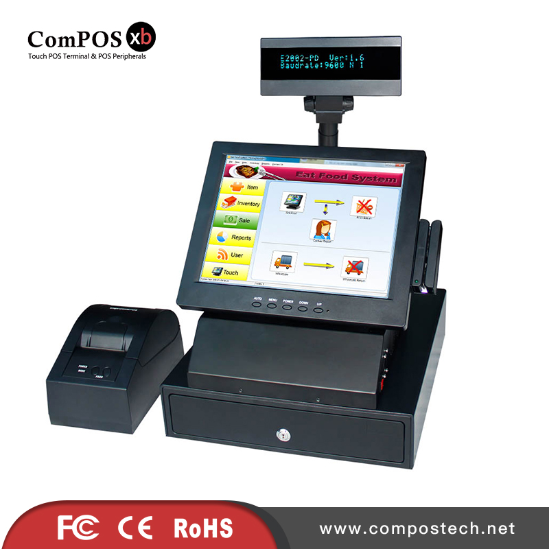 12 inch casher register touch screen pos system with scanner printer cash box all in one set pos system pure screen 15 inch cash register with printer cash drawer customer display and scanner all in one pc pos system for restaurant