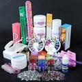 2016 New Acrylic Nail Powder Liquid Base Gel Primer Glitter Brush Nail Tips Buffer Sticker File UV Gel Kit Nail Tools