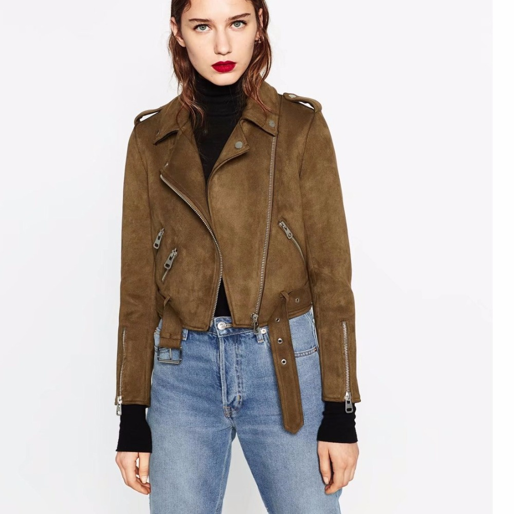 Autumn New casual Women's clothing locomotive coat high quality faux   suede     leather   fashion ladies soft faux   Leather   coat