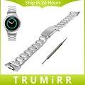 Venda de Reloj de Acero inoxidable 5 Puntero Correa para Samsung Engranaje S2 SM-R720/SM-R730 Hebilla Desplegable Correa Brazalete de Eslabones Negro plata