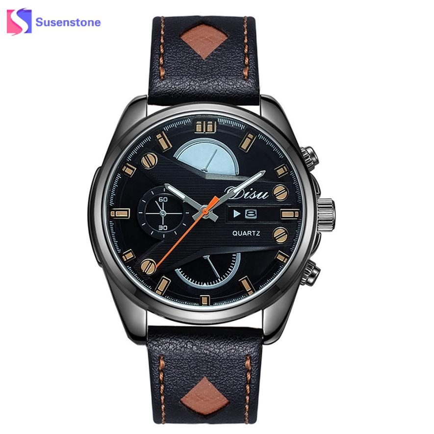 Luxury Men Leather Band Date Day Analog Quartz Watch Steel Alloy Dial Clock Sport Watches Man Military Army Wristwatch reloj men luminous hands watches steel quartz sport wristwatch military dial clock chronograph army rose golden rubber band man watch