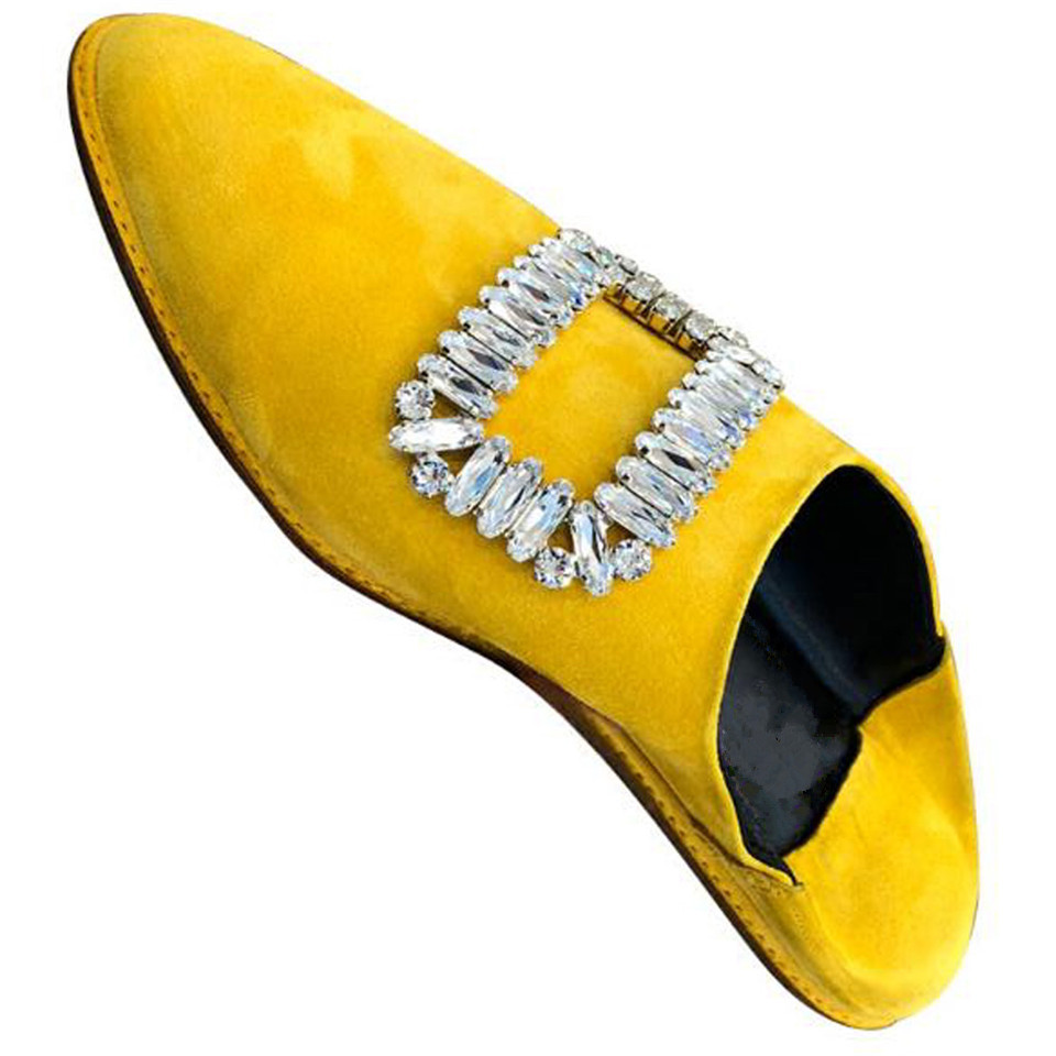 De Bout Newset Lazy Gainé Véritable Pantoufles Femmes Mode Cuir Boucle Plat Slip Chaussures white Pointu Black Cristal Knsvvli Carré yellow Orteil Femme Sur 60Ywd88q7