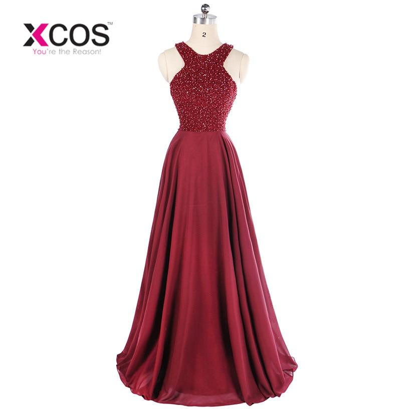 Burgundy Sleeveless Beads Mermaid Long   Evening     Dresses   vestido longo Formal Party Prom   Dresses   2018 vestido de festa