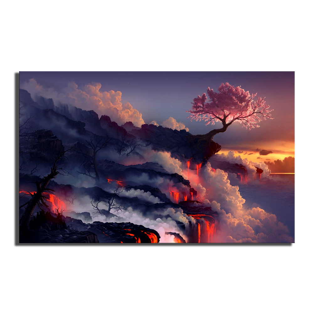 1 Piece Canvas Painting Fantasy Art Scorched Earth Lava Landscape Cherry Blossom Sunset Life Blossom HD Picture Print Wall Decor 2