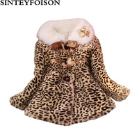 Fashion Winter Children Leopard Coat Faux Fur Collar Coat Infant Clothing Fur Jackets Keep Warmming Girls