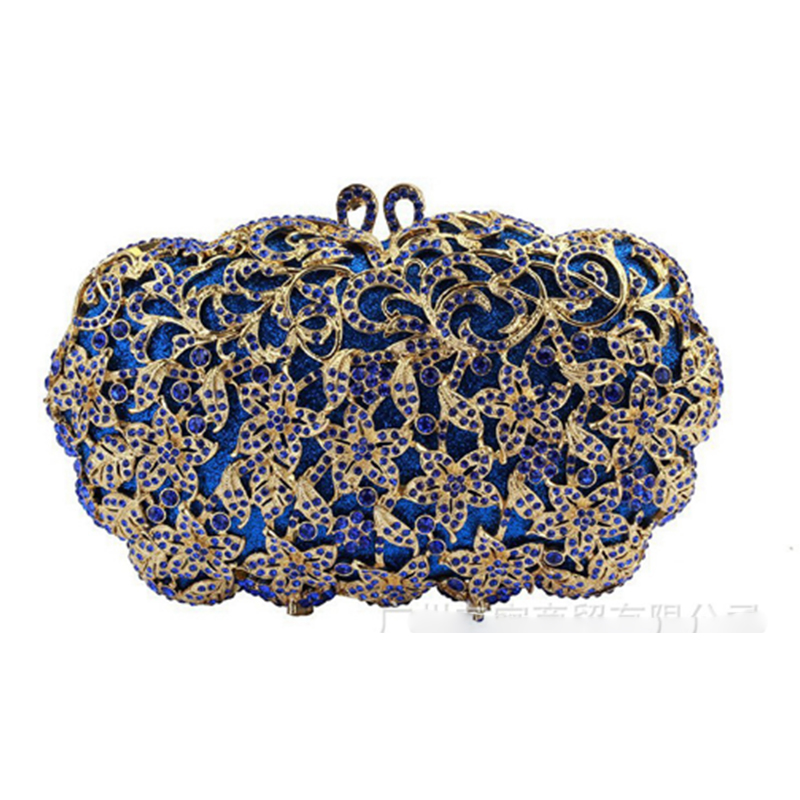 XIYUAN BRAND Luxury Fashion gold blue Crystal Diamond Party Purse Women Wedding  Clutch Evening Bag Female e832c6aced56