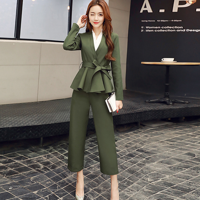 Korean Fashion Women Clothing 2 Piece Set 2017 New Temperament OL Coat+wide Leg Pants Suit ...