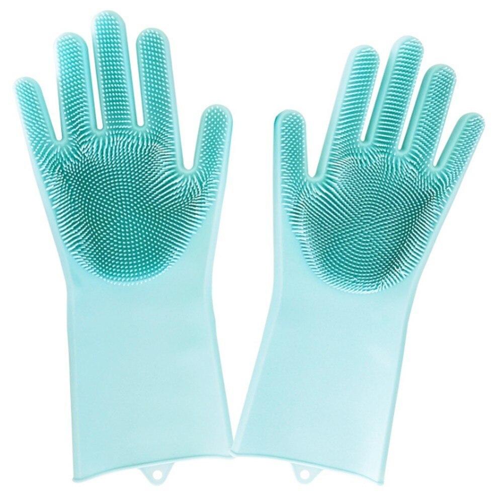 1 par de guantes mágicos de goma de silicona para lavar platos limpieza respetuosa con el medio ambiente para cocina multiusos cama baño cuidado del cabello