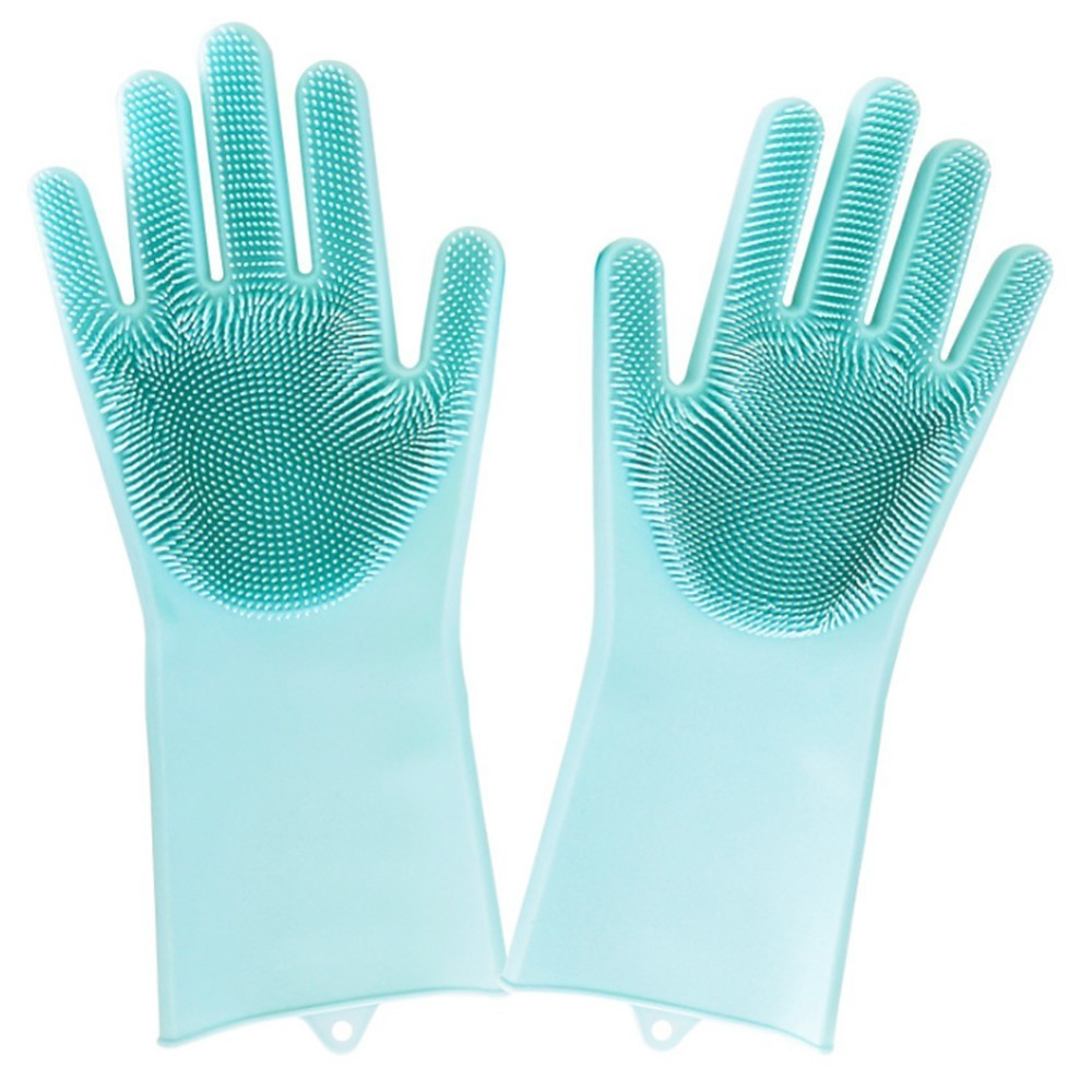 1Pair Magic Silicone Rubbe Dish Washing Gloves Eco Friendly Scrubber Cleaning For Multipurpose Kitchen Bed Bathroom