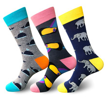 Moda Socmark 2019 Hot Sale Socks Men New Funny Male Whale Woodpecker Eephant Pattern Colorful Retro Cotton Happy Man