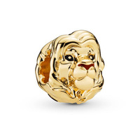 Gold Plate Lion King Simba Charm Fits Pandora Bracelet Original 925 Sterling Silver Animal Beads For Jewelry Making Shine