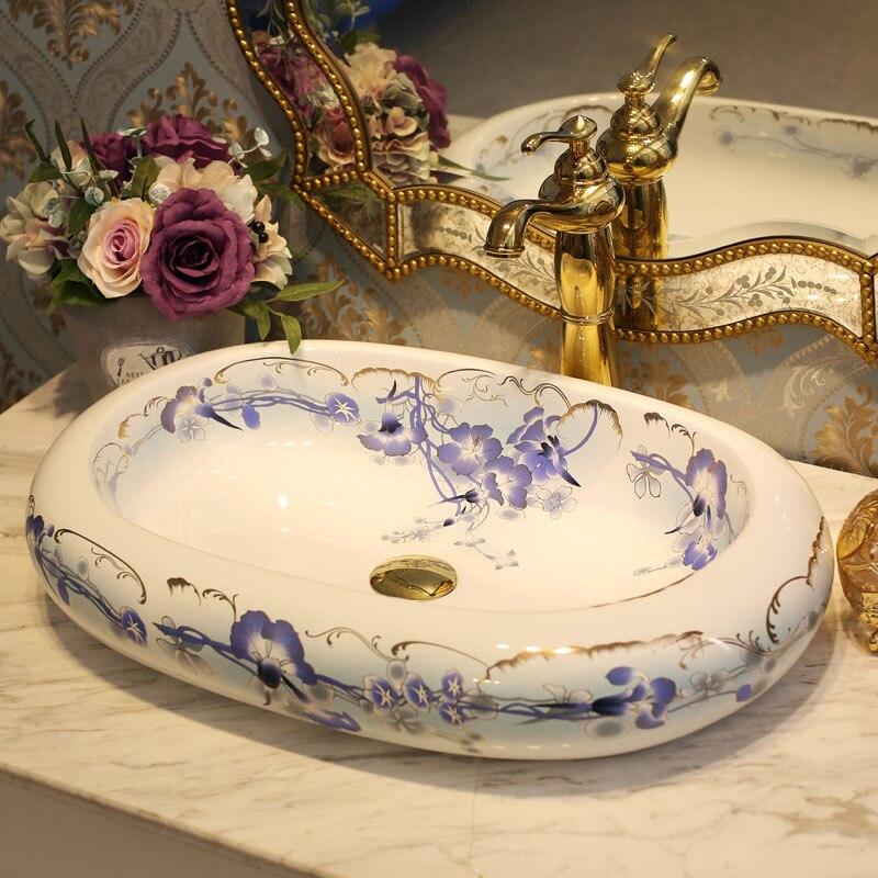 US $299.0 |Blau und weiß Jingdezhen keramik waschbecken waschbecken Keramik  Arbeitsplatte Waschbecken Badezimmer spülbecken runde-in Bad Waschbecken ...
