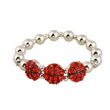 Sport Basketball Bracelet Cz Crystal Beads Chain Gym Motivation Athlete Workout Jewelry