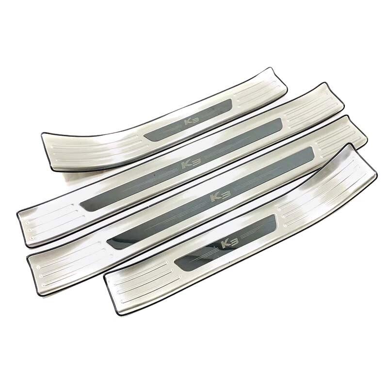 Pour Kia K3 2019 acier inoxydable plaque de seuil de porte protège-garniture coup de pied garde pédale étape couverture accessoires de style de voiture