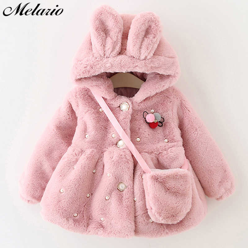 d9bc2008ad42 Melario Outwear Coats Clothes Winter New With Bag Thickening Baby Cotton  Coat Rabbit Ears Hooded Baby Winter