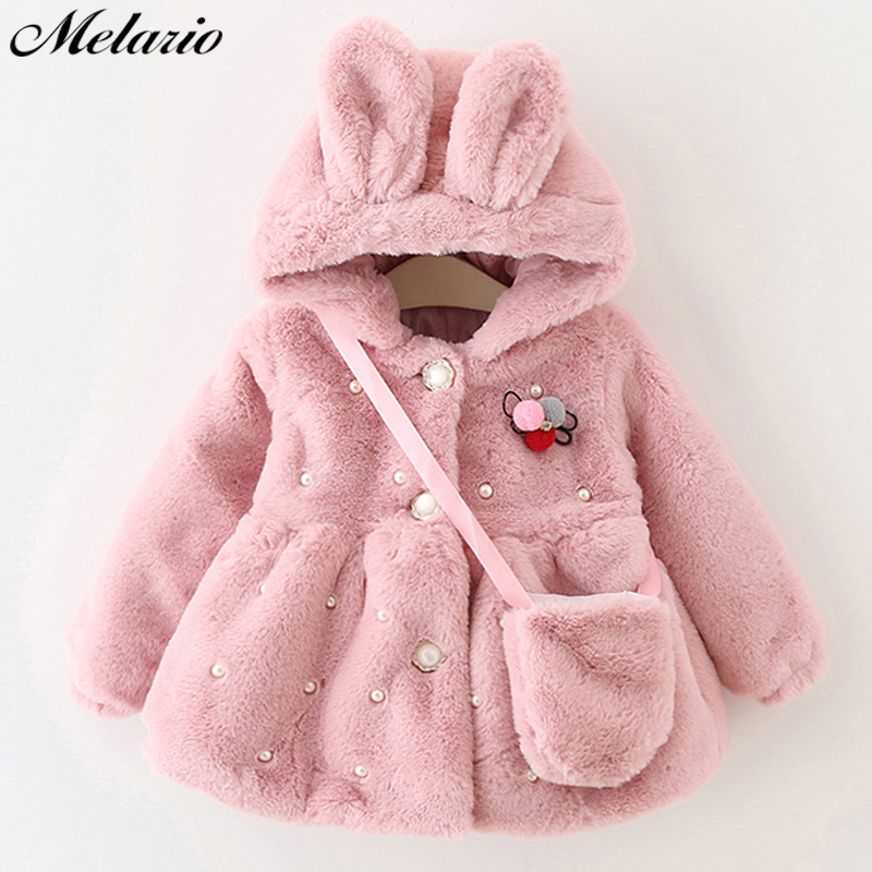 Melario Outwear&Coats clothes winter new with bag thickening baby cotton coat Cute rabbit ears hooded children winter coat brand children coat jackets stripe cute rabbit ears hooded wool coats for girl kids double breasted woolen jacket infant outwear