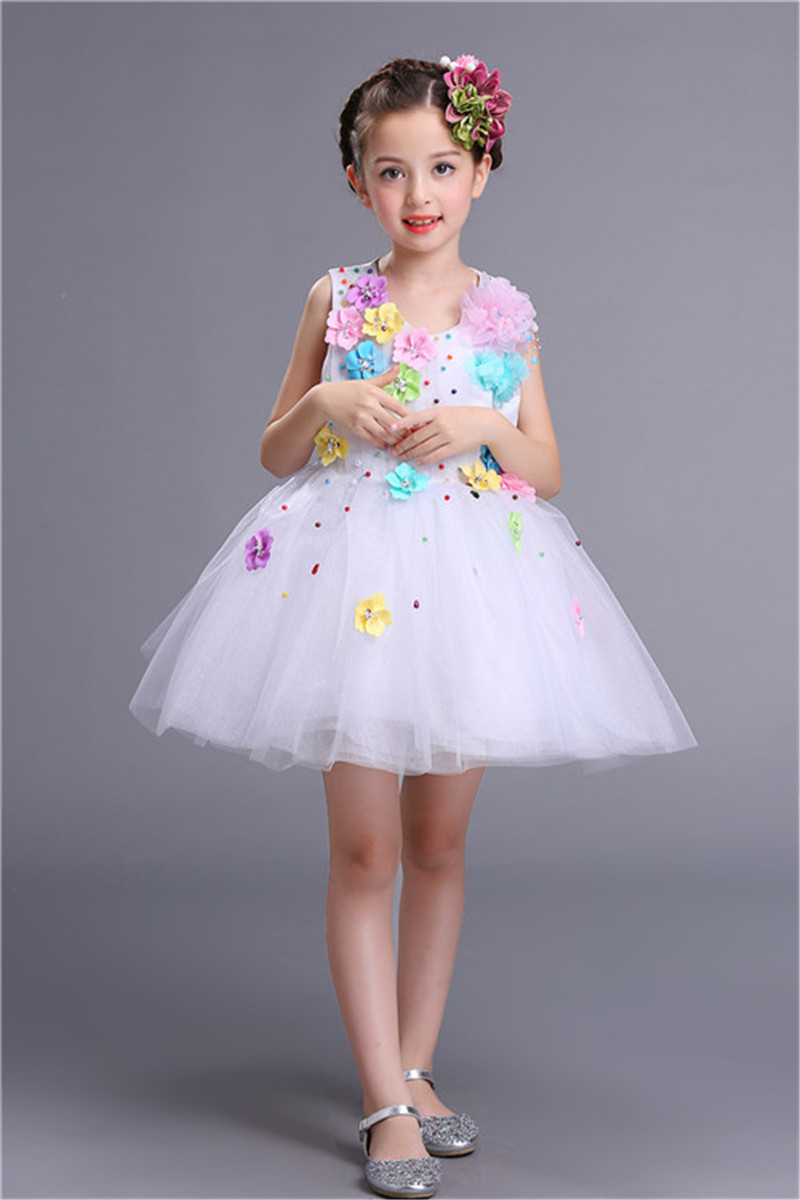 Fashion Princess Party Birthday Outfits White Red Royal Blue Pink