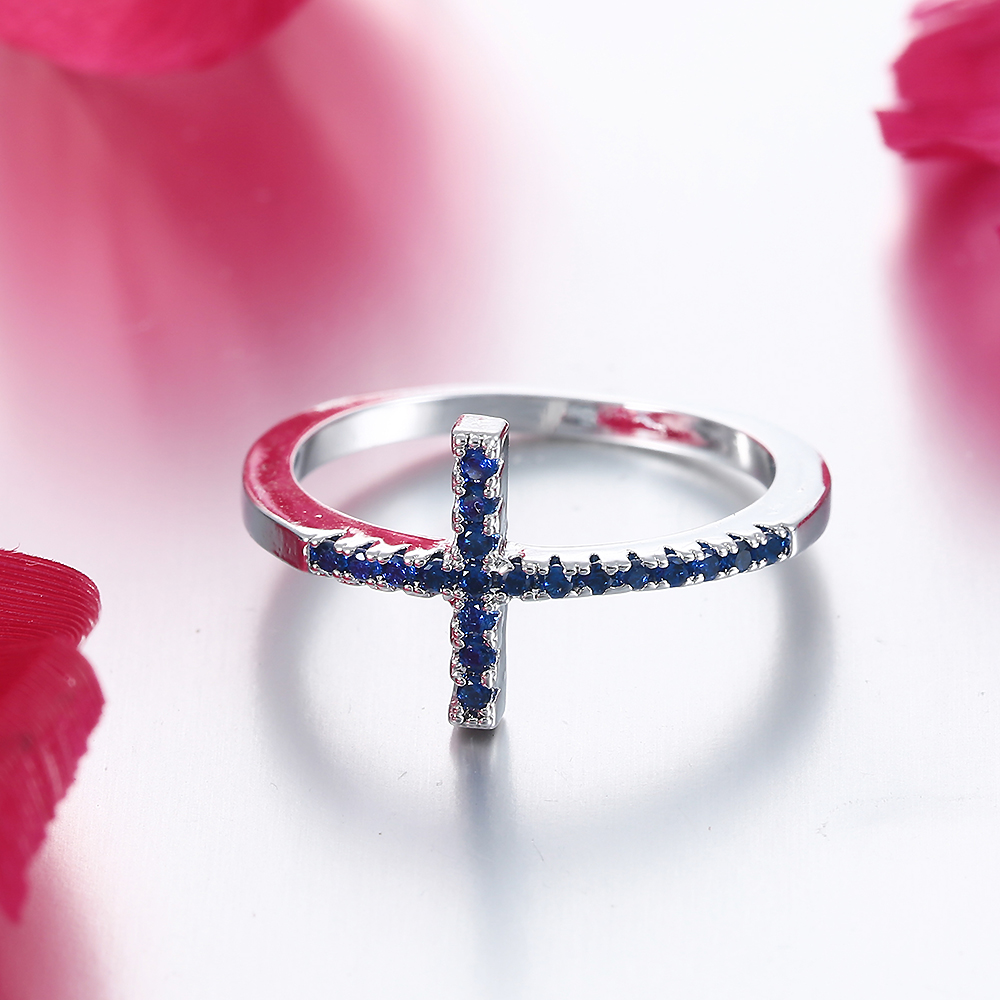 DOULAIMEI Supply Real 925 Sterling Silver Purple Cross Crystal Finger Ring Bridal Women Men Boy Friend Lovers Fine Jewelry Gift