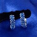 Women Fresh Pendiente Jewelry 1 Pair 5 Colors High Quality CZ Zircon silver Charm Hoop Earrings Ladies Girls Fashion Gift