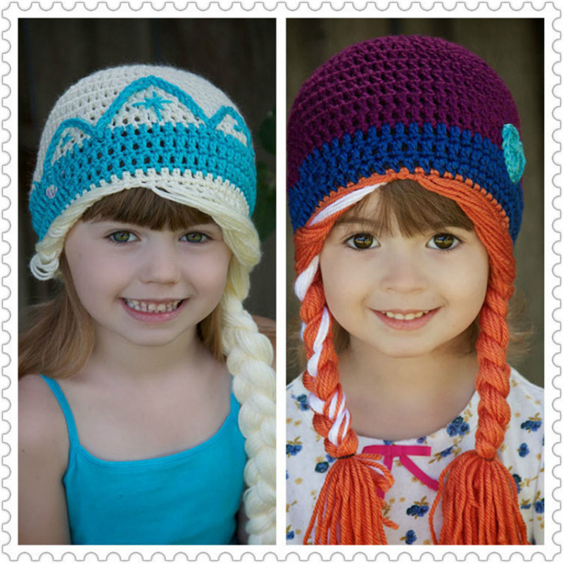 Girls Elsa Princess Hats Cosplay Hats Winter Knitting Cartoon Anna Hats Cosmetic Famous Movie Hats Blue Orange Baby Beanie