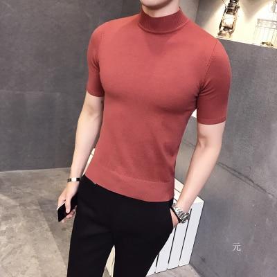 2019 Spring And Summer Tight British Gentleman Casual Sweater Bottoming Shirt Youth Men's Short-sleeved Shirt Half-high Collar