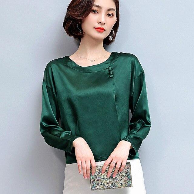 75eb705cc3e New Winter Autumn Slik Blouse Women 2019 Long Sleeve Plus Size Shirts Femme Tops  Fashion Casual Chiffon Blusas Mujer M-4XL