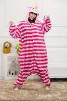 One Piece Free Shipping Cartoon Animal Red Stripes Cat Pajamas Onesies Hoodie Adults Flannel Great Quality