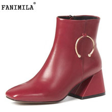 Fanimila Для женщин Ботинки из натуральной кожи на высоком каблуке Женская обувь на застежке-молнии Пряжка толстый каблук загрузки зимняя обувь теплая Женская обувь размеры 33–40