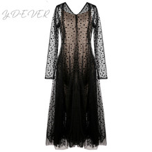 2019 New Spring Long Sleeve V-neck Lace Dress Sexy Pleated Perspective Anti-emptied Tank Two Pieces Suit Women Tide A968