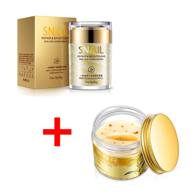 OneSpring Moisturzing Snail Cream + Gold Osmanthus Eye Mask Women Collagen Gel Whey Protein Face Care Anti Puffiness Skin Care recette merveilleuse ultra eye contour gel by stendhal for women 0 5 oz gel