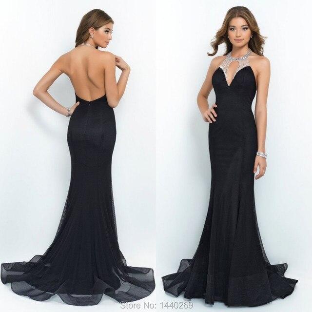 2016 Classy Mermaid Halter Net Tulle Long Black Prom frisada Backless vestidos Evneing