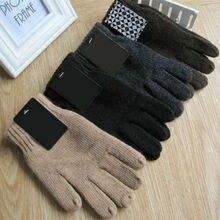 Осенние и зимние мужские вязаные перчатки, мужские утепленные теплые шерстяные перчатки, варежки
