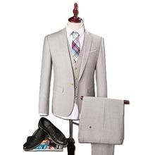 2016 Men Suit+Vest+Pants Prom Wedding Dress Suits Herren Anzug Terno Bleiser Hombre Casual Fashion Slim Fit Blazers Trousers Men