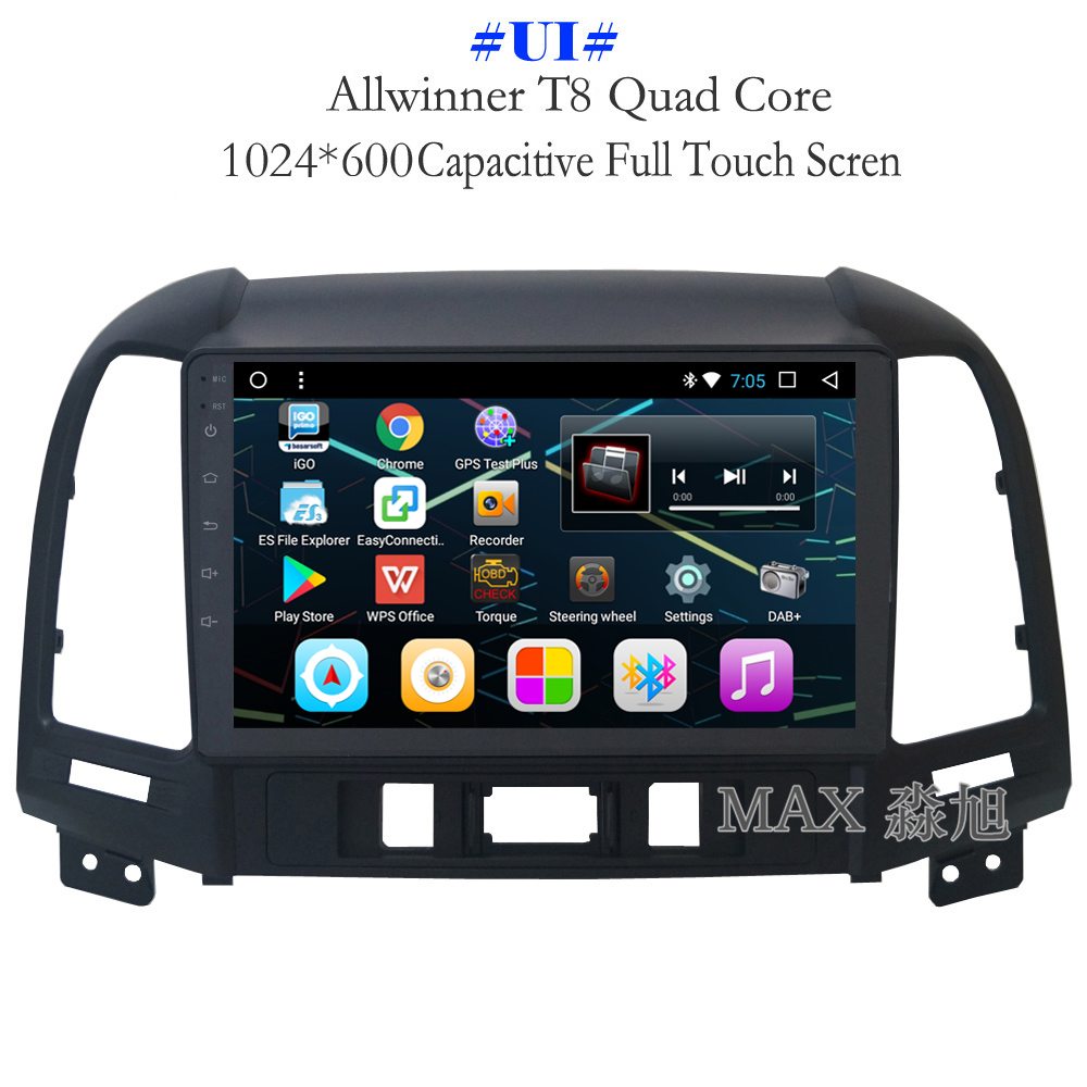 Discount MAX Android 8.1 2G 32G 8 Core Car DVD Player for Hyundai santa fe 3/4holes with 2.5D+IPS Screen car stereo radio RDS Maps swc 1