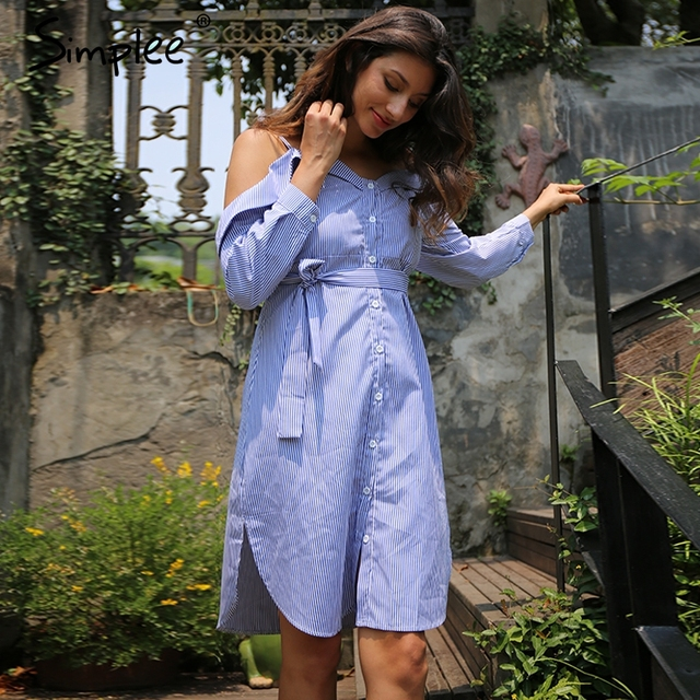 Simplee Striped bow short dress shirt Casual long sleeve v neck dress streetwear Women summer buttons vintage dress vestidos