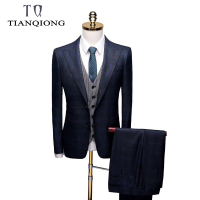 TianQiong 2019 New Business Suits Men's Slim Fit Wedding Suits Single Button Formal Suits 3 Pieces Prom Suits with Pant for Men