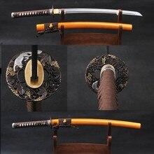 Vintage Japanese Wakizashi Samurai Sword Folded Steel Full Tang Blade Fully Handmade Sharp Edge Knife Delicate Home Decoration
